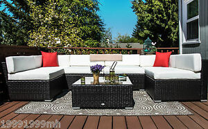 Outsunny 7pc Outdoor Rattan Wicker Sofa Patio Furniture Set Garden Coffee/Cream