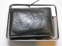 Ml3438001 Ingram Money Clip Bifold Black Men's Wallet Fossil Credit Card Id Lthr