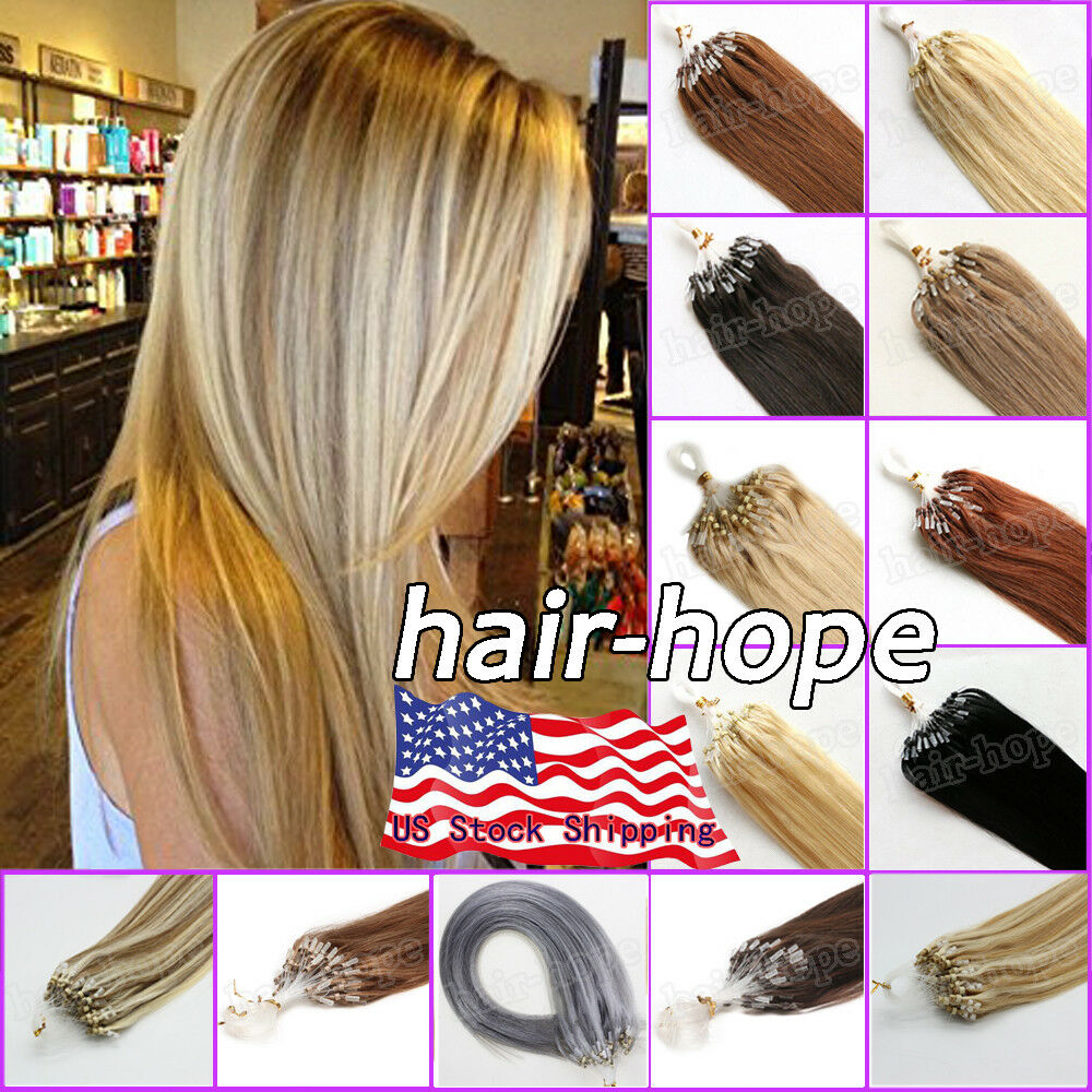 Micro Ring Loop Beads Tip Remy Human Hair Extensions Purple
