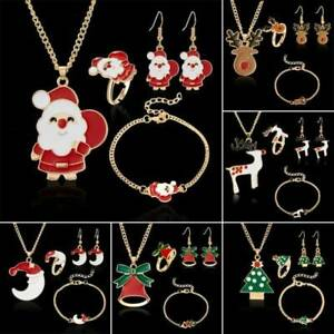 Women-Girls-Kids-XMAS-Jewelry-Set-Gift-Necklace-Bracelet-amp-Earrings-gold-ring-UK