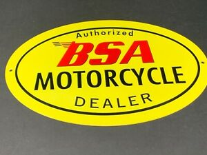 VINTAGE-BSA-MOTORCYCLE-DEALER-12-034-METAL-GASOLINE-OIL-SIGN-BIRMINGHAM-SMALL-ARMS
