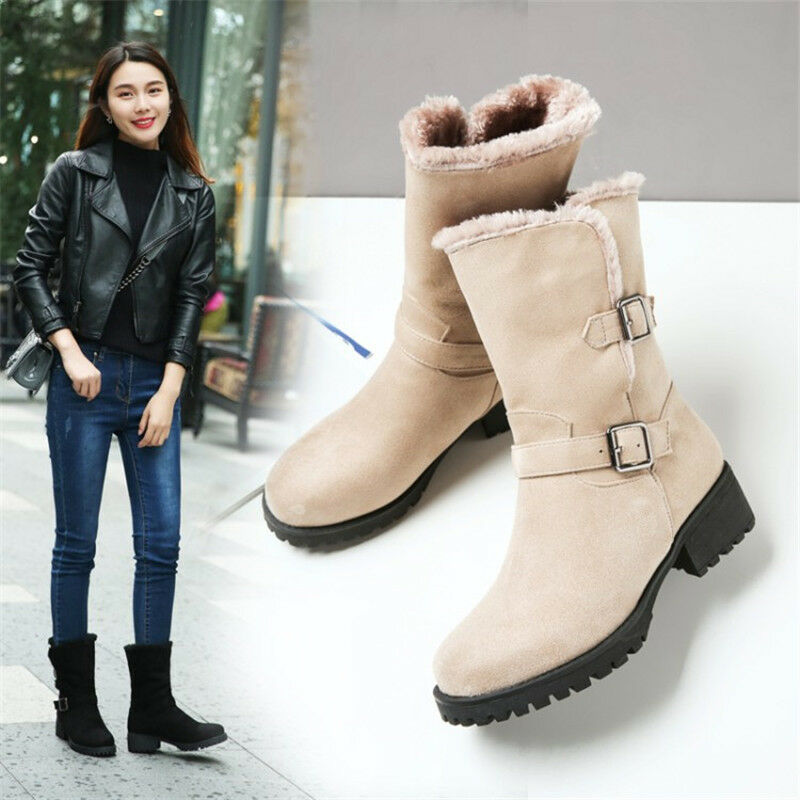 New Women's Round Toe Mid Calf Riding Boots Chunky Heel Suede Warm Buckle shoes