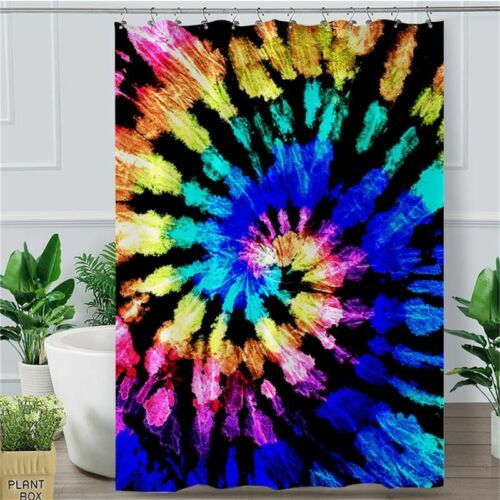 Luxury Colorful Tie Dye Shower Curtain Polyester Stylish Bath Curtain With Hooks
