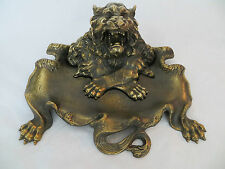 Bronze Roaring Lion Inkwell w Crossed Paws Clawed Pen Tray Complete Signed Rare!