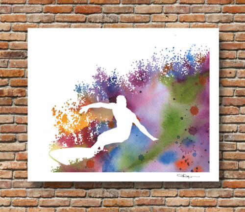 Surfer Abstract Watercolor Painting Surfing 11 x 14 Art Print by Artist DJR