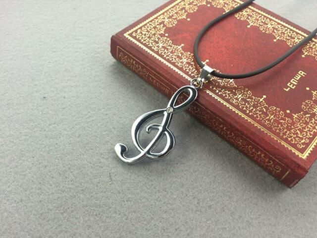 New Style Silver Tone Stainless Steel Music note Leather Choker Necklace