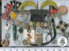 Antique Vintage Junk Drawer stuff coin jewelry knife compass pinback necklace