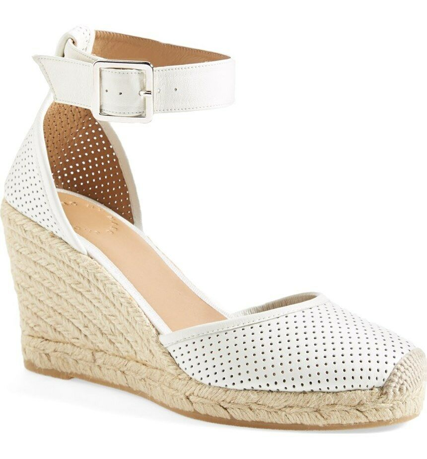 Marc Jacobs NIB Ankle Strap Wedge Perf Lamb Leather Sandal Espadrille bianca 41