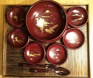 Vintage 9 Pc Lacquer Wood Salad Set and Large Footed Bamboo Serving Tray