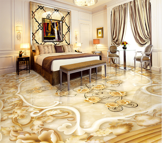 3D Golden flowers 3664 Floor WallPaper Murals Wall Print Decal 5D AJ WALLPAPER