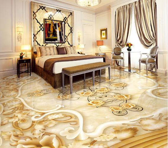 3D Golden flowers 3664 Floor WallPaper Murals Wall Print Decal 5D AJ WALLPAPER