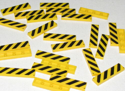 LEGO LOT OF 25 1 X 4 STRIPED YELLOW AND BLACK TILES PIECES