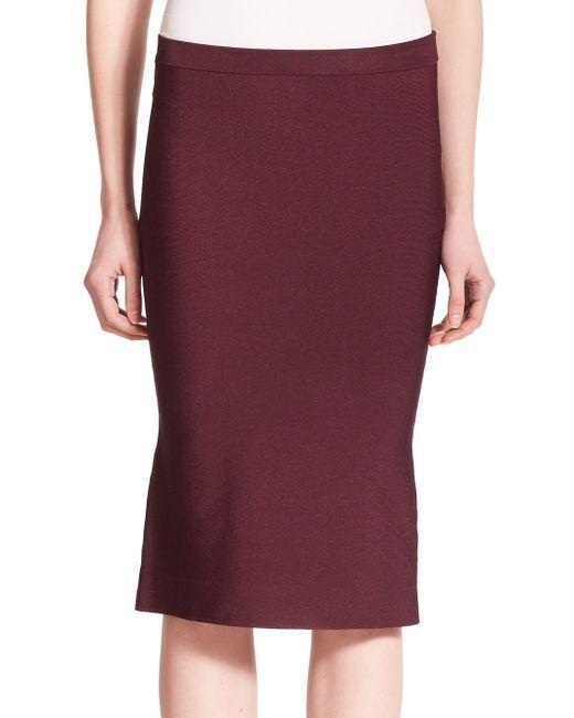 NEW  Parker Laura Knit Pencil Midi Skirt Elasticized Waist Wine Red Size L