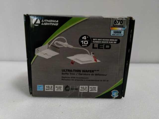 Lithonia Lighting WF4 Wafer Square 4 in. White 5000Kl Wet Recessed  LED Kit