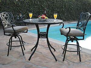 Patio furniture 3 piece outdoor cast aluminum bar set g pr 16 ebay