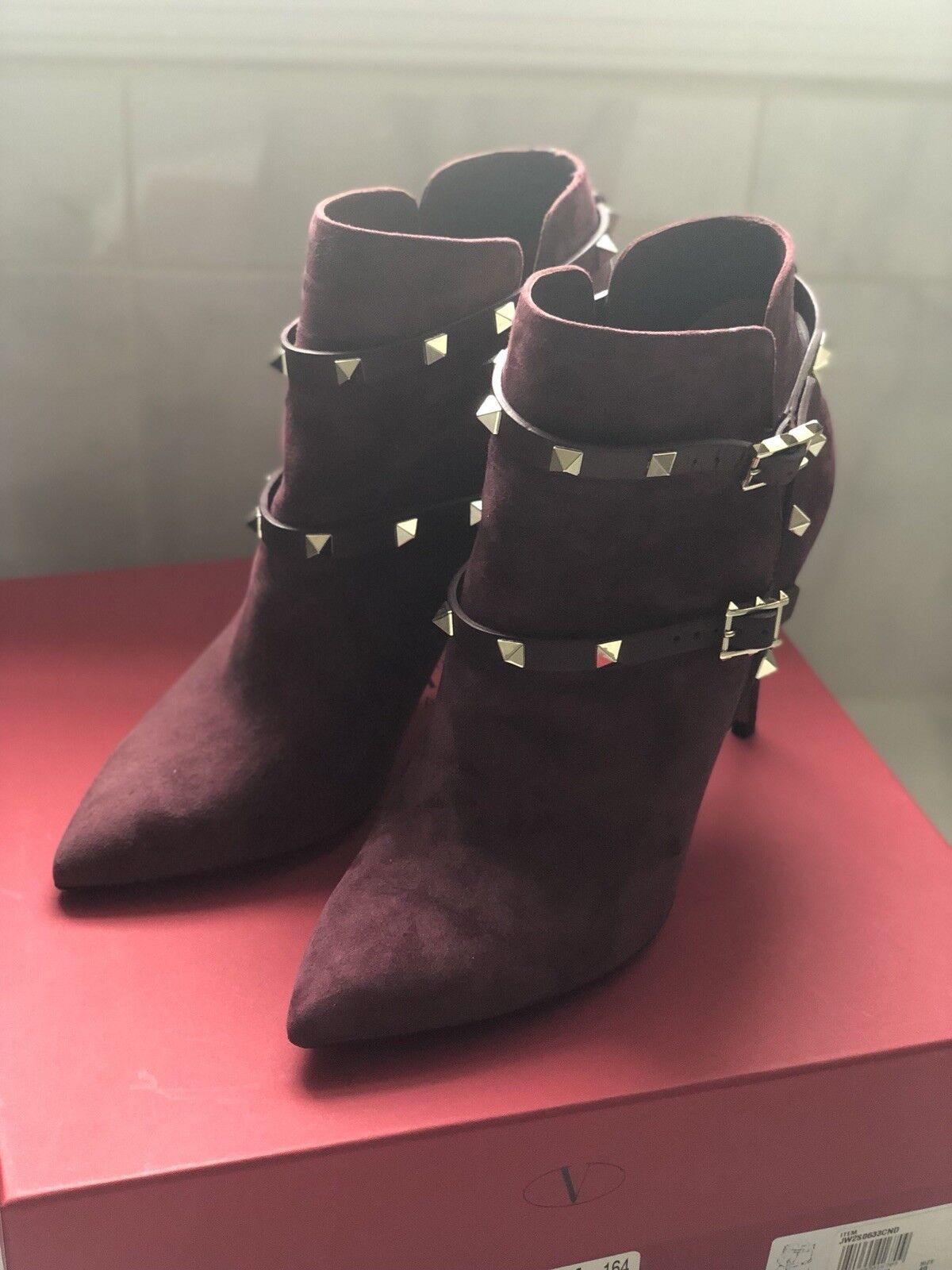 tutto in alta qualità e prezzo basso Valentino Garavani Burgundy Suede  Rockstud Rockstud Rockstud  Ankle stivali SZ 40  ti renderà soddisfatto
