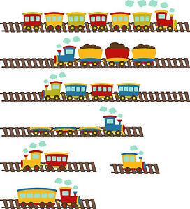 Dibujos Animados Tren Infantil Habitación Adhesivos De Pared Vinilo