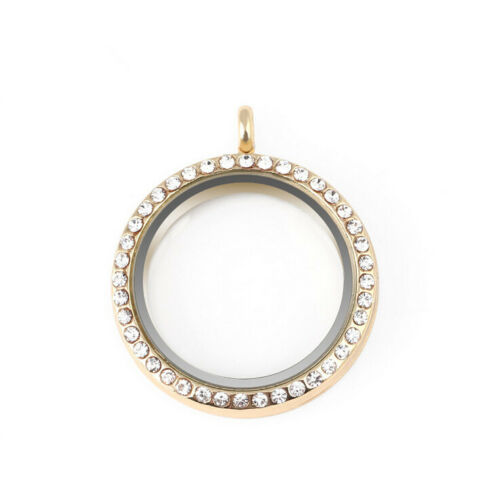 30mm 4 Color Alloy Crystal Round Living Memory Floating Locket Charms Pendant