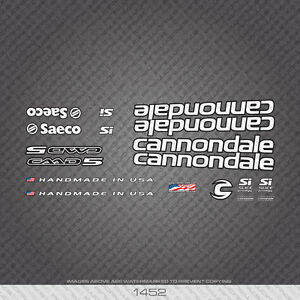01452 Cannondale Bicycle Stickers - Decals - Transfers - White With Black Key