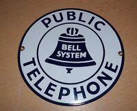 BELL SYSTEM Public Telephone PORCELAIN ENAMEL Steel SIGN Phone Booth Blue/White