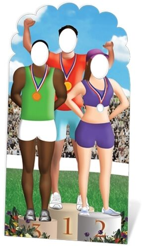 Olympic Games Podium Stand In Cardboard Cutout Figure 195cm Tall - At your Event