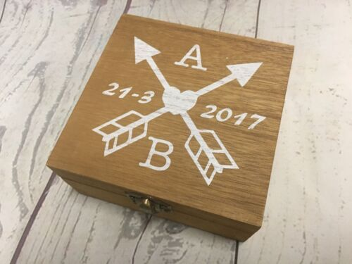 Valentines Gift Personalised Couples Crossed Arrows Wooden Box