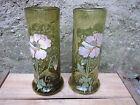 Paire d'anciens vase en verre émaillé Legras art nouveau decor fleurs
