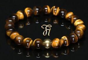 Tigerauge-925er-sterling-Silber-vergoldet-Armband-Bracelet-Perlenarmband-braun