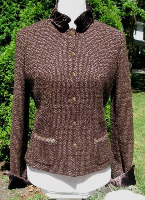 Elie Tahari Blazer Jacket Sz 6 Dark Brown Tweed Velvet Collar Jacket Wool Blend