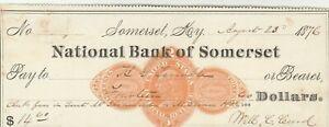 1876  NATIONAL BANK ofSOMERSET , KENTUCKY    REVENUE STAMP