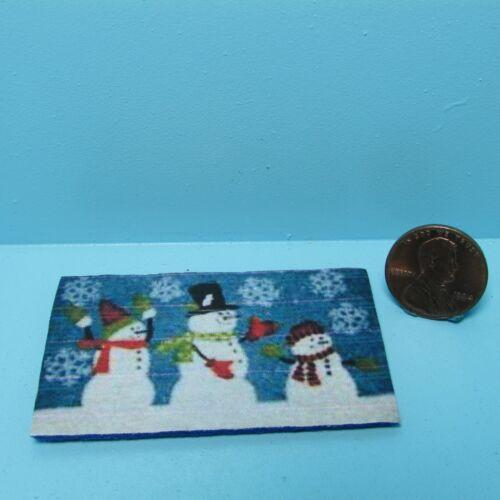 Dollhouse Miniature Winter Snow Family / Snowman Welcome Mat ~ RND287