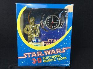 VINTAGE-3D-STAR-WARS-R2-D2-C-3PO-ELECTRONIC-QUARTZ-CLOCK-W-BOX-UNUSED-LUCAS-1982