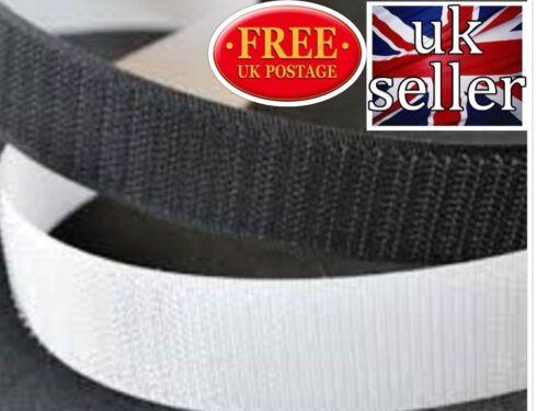 VELCRO COSER CINTA de gancho y bucle puntada en cinta Negro O Blanco 25mm Ancho