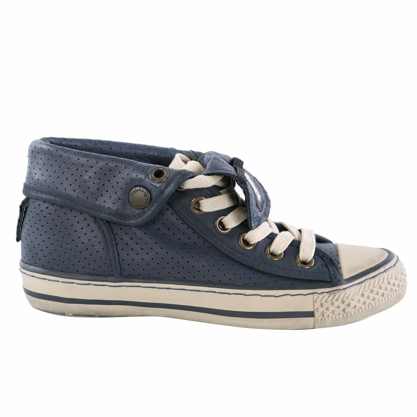 Matchless Ladies Leather Sneakers shoes Watts High Vent Navy 142019 Size 37