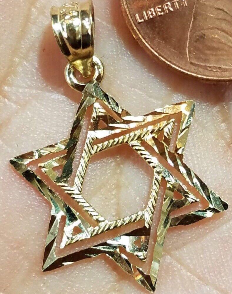 gold Jewish Star David Pendant 14k kaballah Yellow Diamond Cut charm