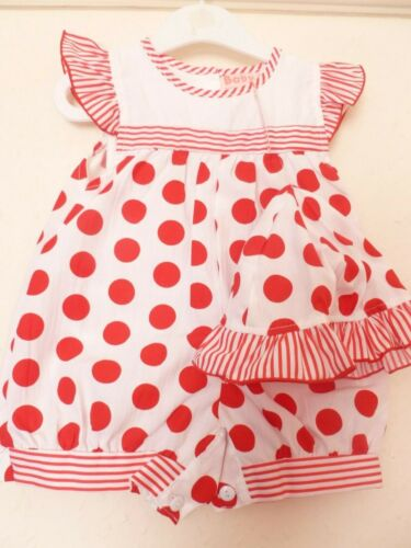 Baby Girls Red and White Summer Rompers and Hat by baby c age 0-3 month nwt