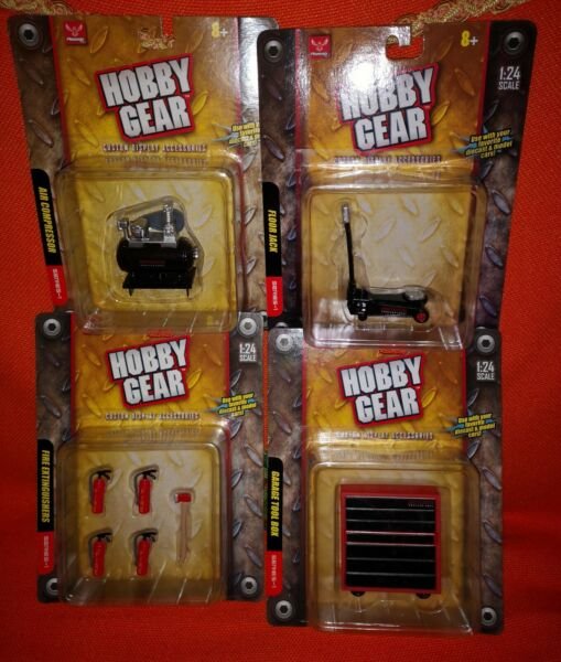 # 1/24 Lotto 4 Diversi Set Accessori Per Garage Scala 1/24 - Hobby Gear Mib#