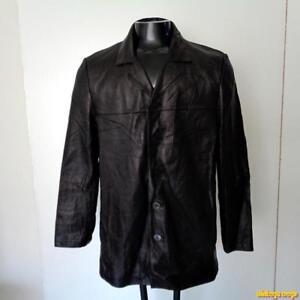 REPORT-Collection-Lambskin-LEATHER-Car-coat-JACKET-Mens-Size-M-medium-Black