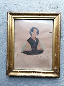 Biedermeier Portrait um 1850 Waschgoldrahmen
