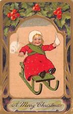 CHRISTMAS HOLIDAY CHILD BABY SLED EMBOSSED PFB POSTCARD 1910