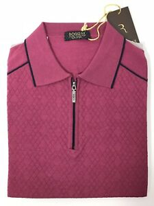 e21fd3fc Rossini Polo Luxury Mens Pink Polo Cotton Blend Soft Jewelry Zipper ...