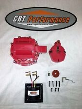 RED 8cyl HEI Distributor Cap, Coil Cover + Rotor Kit & 65,000 Volt Coil GM CHEVY