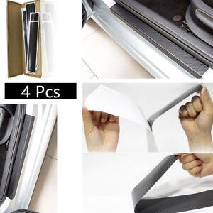 4x-Car-Auto-Door-Protector-Guards-DOOR-SILL-SCUFF-PLATE-Black-2-front-2-rear