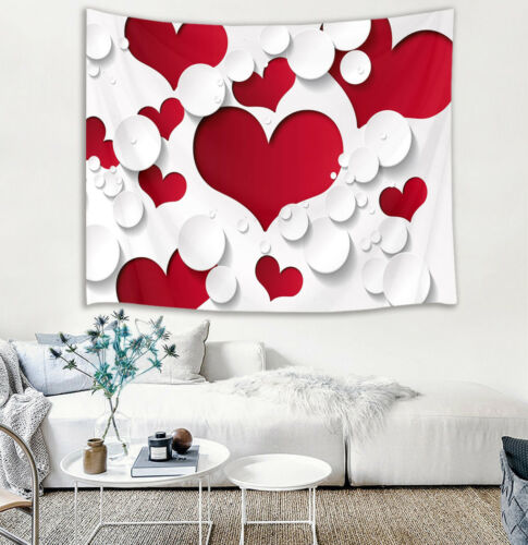 Valentine/'s Day Heart Flowers Lover Tapestry Wall Hanging for Living Room Dorm