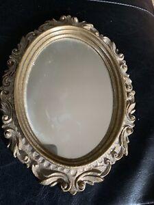 Gilded-Burwood-Syroco-Oval-Mirror-Gold-Color-9-x-11-5-034-Ornate-Design