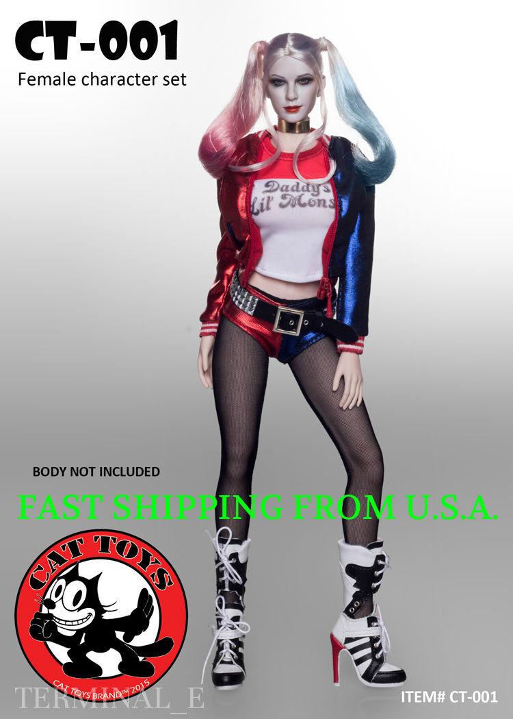 1 6 escuadrón de suicidio Harley Quinn cabeza esculpida Sexy Conjunto de Ropa para 12  figura ❶ USA ❶