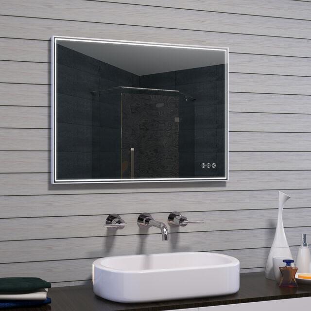 Alu LED Beleuchtung Badezimmerspiegel Kaltweiß Warmweiß Licht Badspiegel  Dimmbar