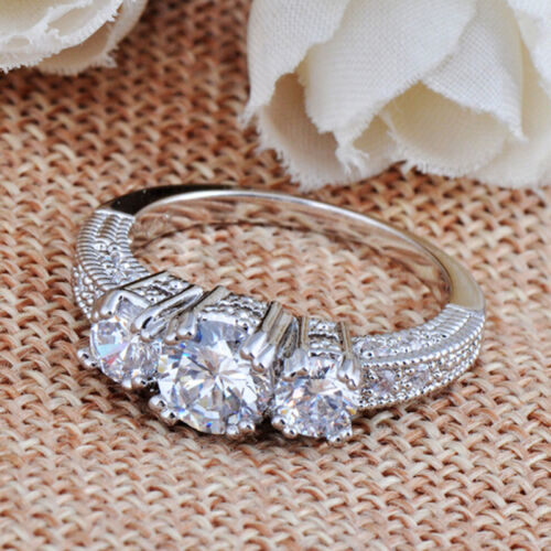 Size 6-9 White Sapphire Silver Wedding Band Ring White Gold Filled Jewelry