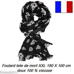 FOULARD CHECHE TETE DE MORT GOTHIQUE XXL 190X100 CM ECHARPE DRAPEAU ... 7de843cca0c