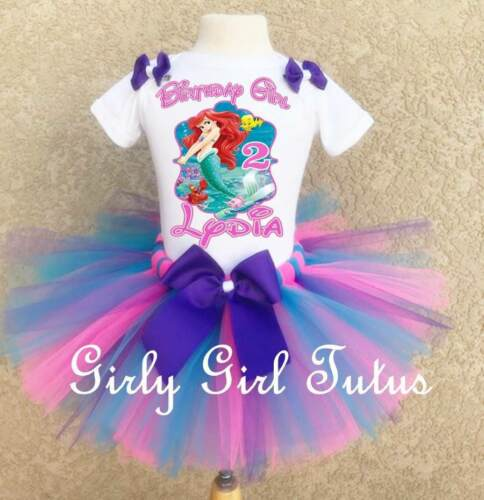 Ariel Little Mermaid Personalized Birthday Tutu Outfit Set for Ariel Birthday